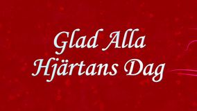 Happy Valentine's Day text in Swedish Glad Alla Hjartans Dag formed from dust and turns to dust horizontally on red background stock footage