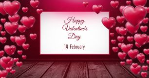 Happy Valentine`s Day 14th February text and Shiny bubbly Valentines hearts in room with wooden floo. Digital composite of Happy Valentine`s Day 14th February Stock Illustration