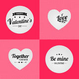 Happy valentine's day. Together forewer. Ilove you. Be mine valentine. Set of lettering. Pink textured background. Stock Image