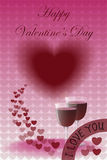 Happy Valentine's Day with Two Glasses of Wine Stock Photography