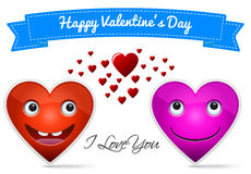 Happy Valentine's Day. Two heart in love say I love you Stock Photo