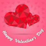 Happy valentine`s day and two red heart polygon on pink heart background Royalty Free Stock Photography