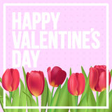 Happy Valentine`s day typographic poster with red tulips bouquet. Typographic poster design with flowers Royalty Free Stock Photography
