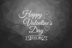 Happy Valentine's Day! Typographical background on the black geometric hearts.  Royalty Free Stock Photography