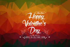 Happy Valentine's Day! Typographical background on the retro geometric hearts.  Stock Photography