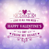 Happy Valentine's Day typography greeting card background Stock Image
