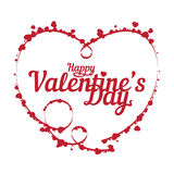 Happy Valentine`s day vector abstract background with frame of hearts bokeh lights Stock Images