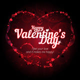 Happy Valentine`s day vector background with differents shiny hearts bokeh lights Royalty Free Stock Image