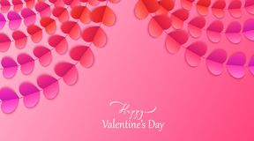 Happy Valentine`s day vector background with red and pink hearts. Paper art garlands with colorful hearts, stock photos