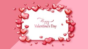 Happy Valentine`s day vector background with red and pink hearts. stock photos