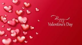 Happy Valentine`s day vector background with red and pink hearts. royalty free stock photo