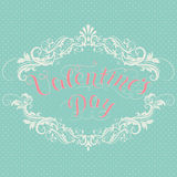 Happy Valentine`s day vector card. With elegant floral elements and text. Elegant and tender gift or invitation card Royalty Free Stock Photo