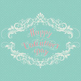 Happy Valentine`s day vector card. With elegant floral elements and text. Elegant and tender gift or invitation card Royalty Free Stock Photos