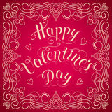 Happy Valentine`s day vector card. With elegant floral elements and text. Elegant and tender gift or invitation card Royalty Free Stock Photography