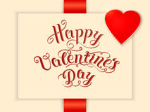 Happy Valentine`s day vector card. With elegant text and heart. Elegant and tender gift or invitation card Royalty Free Stock Photography