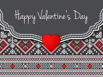 Happy Valentine`s day vector card. With ethnic border and red heart. Elegant and tender gift or invitation card Stock Images