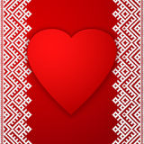 Happy Valentine`s day vector card. With ethnic border white stripe and big red heart. Royalty Free Stock Photos