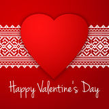 Happy Valentine`s day vector card. With ethnic border white stripe and big red heart. Stock Photography