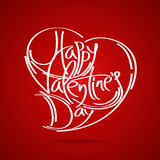 Happy Valentine's Day vector card. With lettering Stock Images
