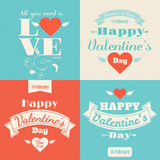 Happy Valentine's Day vector card. With lettering Royalty Free Stock Photography
