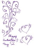 Happy Valentine`s day vector card. Happy Valentine`s Day lettering. Stock Image