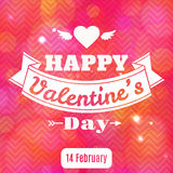 Happy Valentine's Day vector card. With lights Stock Image