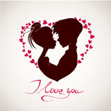 Happy Valentine's Day vector card. With silhouettes Stock Photography