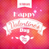 Happy Valentine's Day vector card. With texts Stock Photography