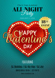 Happy Valentine's Day. Vector flyer with red heart and lights. Can be used as invitation card for night club party. EPS 10 royalty free illustration