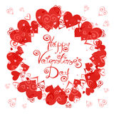 Happy Valentine`s Day. Vector frame with hearts for greeting cards, invitations, posters Royalty Free Stock Photos