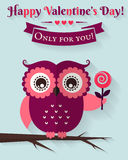 Happy Valentine's Day! Vector greeting card with flat owl. Royalty Free Stock Image