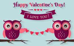 Happy Valentine's Day! Vector greeting card with flat owls. Happy Valentine's Day! I love you! Valentine's Day card with cute flat owls. Vector illustration Stock Image
