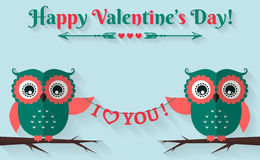 Happy Valentine's Day! Vector greeting card with flat owls. Happy Valentine's Day! I love you! Valentine's Day card with cute flat owls. Vector illustration Royalty Free Stock Images