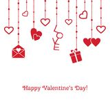 Happy valentine`s day. Vector greeting card with hanging objects. Happy valentine`s day. Vector greeting card with red hanging objects Royalty Free Stock Image