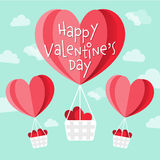 Happy Valentine`s day vector heart shaped hot air balloons Stock Images