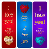 Happy Valentine's Day Vector Hearts Cards Royalty Free Stock Image