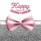 Happy Valentine's Day vector illustration, card, postcard, silver glitter Royalty Free Stock Images