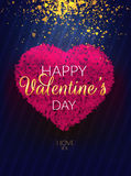 Happy Valentine's Day. Vector illustration with pink heart and sarkles. EPS 10 vector illustration