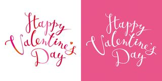 Happy Valentine`s Day vector lettering design template. Happy Valentine`s Day vector card with calligraphic hand drawn lettering design. Creative typography for Stock Photos