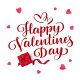 Happy Valentine`s Day. Vector lettering. Holiday greeting text. Valentines Day background with red gift box and hearts Stock Images