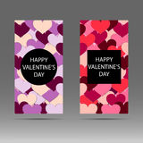 Happy Valentine`s day vertical banner with red and pink hearts. Vector background. Royalty Free Stock Image