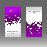 Happy Valentine`s day vertical banner with white hearts on pink background. Vector background. Royalty Free Stock Images