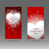 Happy Valentine`s day vertical banner with white hearts on red background. Vector background. Stock Photos