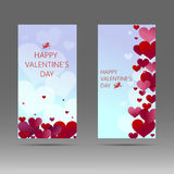 Happy Valentine`s day vertical banner with white, red and pink hearts. Vector background. Royalty Free Stock Images