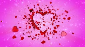 Happy Valentine`s Day. Video greeting, congratulation. 3D animation. Video greetings to Valentine`s Day. Small hearts fall and create the shape of a large heart stock video