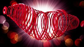 Happy Valentine`s Day. Video greetings to Valentine`s Day. In the center of a red heart. 4K. 3d rendering stock video