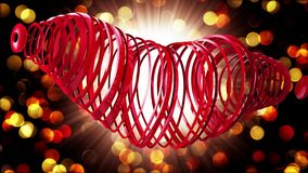 Happy Valentine`s Day. Video greetings to Valentine`s Day. In the center of a red heart. 4K. 3d rendering stock video footage