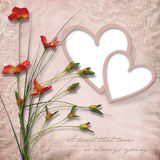 Happy Valentine S Day. Vintage Card With Heart-frame Royalty Free Stock Images
