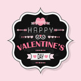 Happy Valentine's Day - Vintage chalk badge on pink background Royalty Free Stock Photos