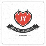 Happy Valentine's Day Vintage Greetings Card Design Stock Photo
